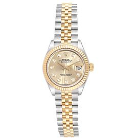 Rolex Datejust 28 Steel Yellow Gold Diamond Ladies Watch 279173