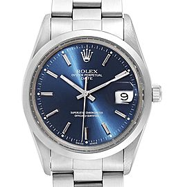 Rolex Date Blue Baton Dial Vintage Steel Mens Watch 15000