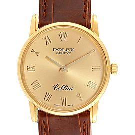 Rolex Cellini Classic 18k Yellow Gold Roman Dial Brown Strap Watch 5116