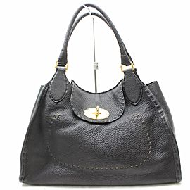 Fendi Selleria Turnlock 869639 Black Leather Shoulder Bag