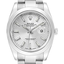 Rolex Datejust 41 Silver Dial Steel Mens Watch 126300 Box Card
