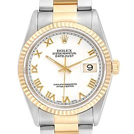 Rolex Datejust Steel 18K Yellow Gold White Dial Mens Watch 16233