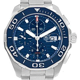 Tag Heuer Aquaracer Blue Dial Chronograph Steel Mens Watch CAY211B