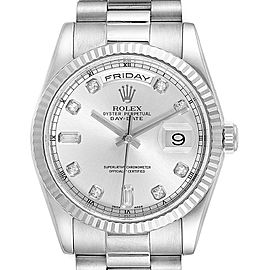 Rolex President Day-Date White Gold Diamond Mens Watch 118239 Box Papers