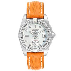 Breitling Galactic 36 Orange Strap MOP Steel Diamond Ladies Watch A37330