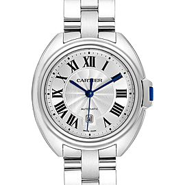 Cartier Cle Silver Guilloche Dial Automatic Steel Ladies Watch WSCL0005