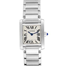 Cartier Tank Francaise Small Steel Ladies Watch W51008Q3 Box Papers