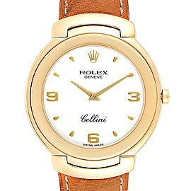 Rolex Cellini 18k Yellow Gold White Dial Brown Strap Mens Watch 6623