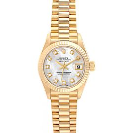 Rolex President Datejust Yellow Gold MOP Diamond Ladies Watch 69178