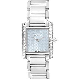 Cartier Tank Francaise White Gold Blue Dial Diamond Ladies Watch 2403