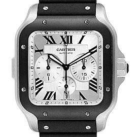 Cartier Santos 100 XL Chronograph Steel Rubber Watch WSSA0017 Box Card