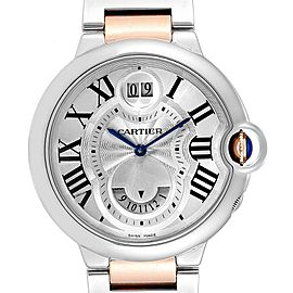 Cartier Ballon Bleu Steel Rose Gold Dual Time Zone Watch W6920027 Box Papers