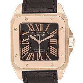 Cartier Santos 100 38mm Rose Gold Chocolate Dial Mens Watch W20127Y1
