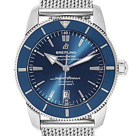 Breitling Superocean Heritage 46 Blue Dial Mesh Bracelet Watch AB2020