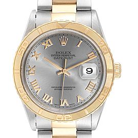 Rolex Datejust Turnograph Steel Yellow Gold Slate Dial Mens Watch 16263