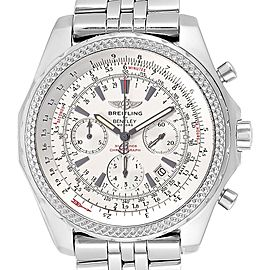 Breitling Bentley Motors Silver Dial Chronograph Watch A25362 Box Papers