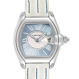 Cartier Roadster Blue Dial White Strap Steel Ladies Watch W62053V3