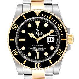 Rolex Submariner Steel Yellow Gold Black Dial Steel Mens Watch 116613