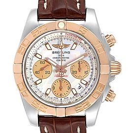 Breitling Chronomat 41 Steel Rose Gold MOP Dial Watch CB0140 Box Papers