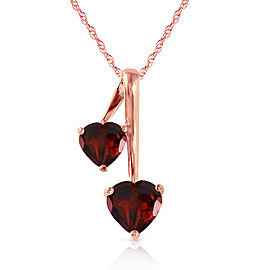 14K Solid Rose Gold Hearts Necklace with Natural Garnets