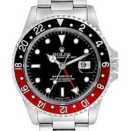 Rolex GMT Master II Black Red Coke Bezel Steel Mens Watch 16710