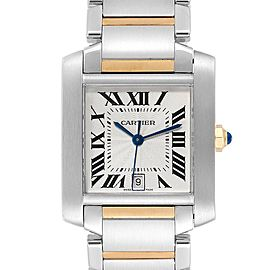 Cartier Tank Francaise Steel Yellow Gold Mens Watch W51005Q4 Box