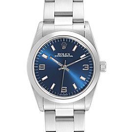 Rolex Midsize 31 Blue Dial Steel Ladies Watch 77080 Box Papers