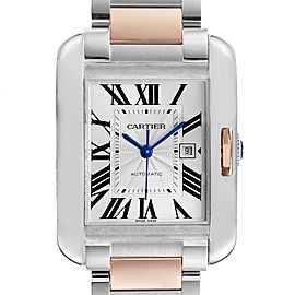 Cartier Tank Anglaise Large Steel 18K Rose Gold Ladies Watch W5310007