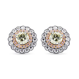 Leibish 18K White Gold with 2.30ctw Diamond Earrings