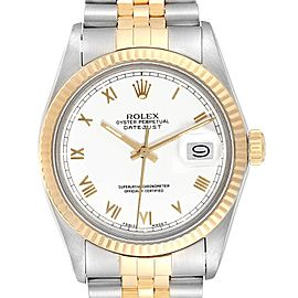 Rolex Datejust Steel Yellow Gold White Dial Vintage Mens Watch 16013