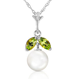 2.2 CTW 14K Solid White Gold Necklace Natural pearl Peridot