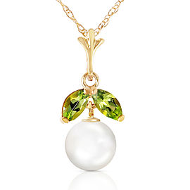2.2 CTW 14K Solid Gold Necklace Natural pearl Peridot