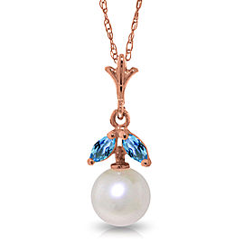 14K Solid Rose Gold Necklace with Natural pearl & Blue Topaz
