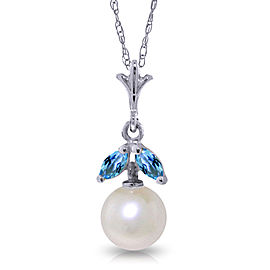 2.2 CTW 14K Solid White Gold Necklace Natural pearl Blue Topaz