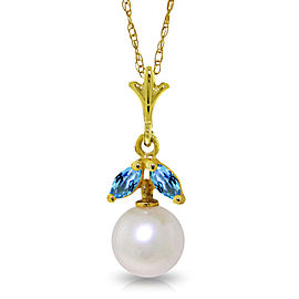 2.2 CTW 14K Solid Gold Necklace Natural pearl Blue Topaz