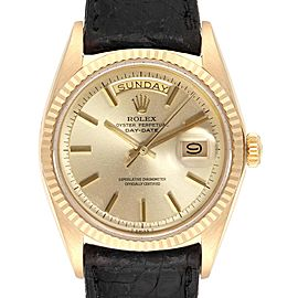 Rolex President Day-Date Vintage Yellow Gold Black Strap Mens Watch 1803