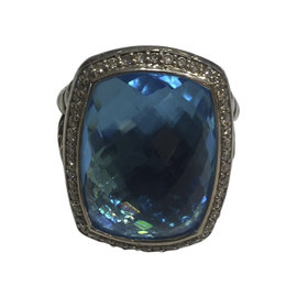 David Yurman Albion Sterling Silver Blue Topaz and Diamond Ring Size 7