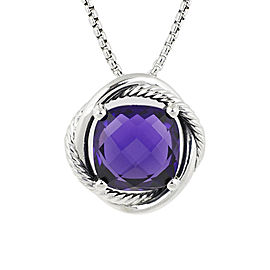 David Yurman 925 Sterling Silver Amethyst Infinity Pendant Necklace