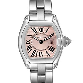 Cartier Roadster Pink Dial Stainless Steel Ladies Watch