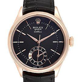 Rolex Cellini Dual Time Everose Rose Gold Mens Watch 50525 Box Card