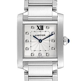 Cartier Tank Francaise Midsize Diamond Steel Ladies Watch WSTA0005