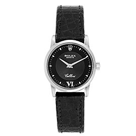 Rolex Cellini Classic 18k White Gold Black Dial Ladies Watch 6111