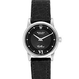 Rolex Cellini Classic 18k White Gold Black Dial Ladies Watch 6111