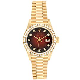 Rolex President Yellow Gold Red Vignette Diamond Ladies Watch 69138