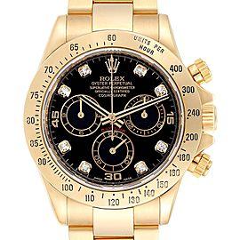 Rolex Cosmograph Daytona Yellow Gold Black Diamond Dial Mens Watch 116528