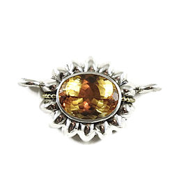 Lagos Sterling Silver 18K Yellow Gold 20x15mm Caviar Faceted Citrine Fluted Enhancer