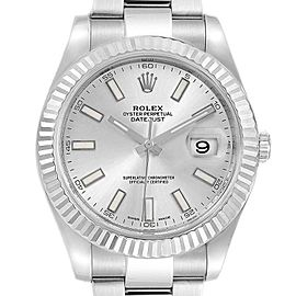Rolex Datejust II 41mm Steel White Gold Silver Dial Mens Watch 116334