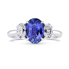 Leibish 18K White Gold with 1.48ct Sapphire and 0.64ctw Diamond Ring Size 6