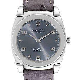 Rolex Cellini Cestello 18K White Gold Slate Dial Mens Watch 5330