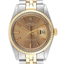 Rolex Datejust Steel Yellow Gold Pie Pan Dial Vintage Mens Watch 1601